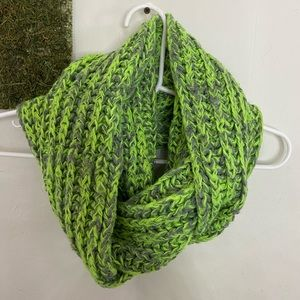 Lime green, Gray Scarf.